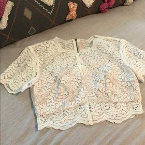 Keepsake lace crop blouse. Front panel